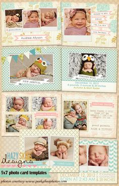 Birth Announcement Photoshop Templates for Photographers #psd templates #digital templates #photography templates