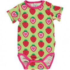 Body kurzarm, grün mit Erdbeeren, Maxomorra