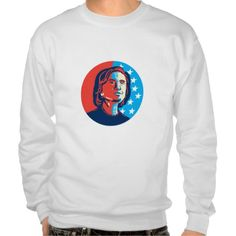 Hillary Clinton American Elections Pullover Sweatshirts. Illustration showing a stylized stencil portrait of Democrat presidential candidate Hillary Clinton looking up set inside circle with USA American stars and stripes on isolated background. #Illustration #HillaryClintonAmericanElectionsPullover