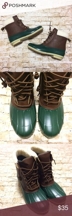 Green Duck Boots HP Brand new duck boots in hunter green and brown. Shearling accent at top. Lace up with twirls at end of laces. Completely waterproof with grip bottoms. Very comfortable and super stylish for fall and winter. Only size left is 7. More are on the way in other sizes.                          Price is firm. No offers on this item please. Shoes Winter & Rain Boots