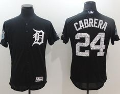 2530a3e11d0 Tigers  24 Miguel Cabrera Navy Blue 2017 Spring Training Authentic Flex Base  Stitched MLB Jersey