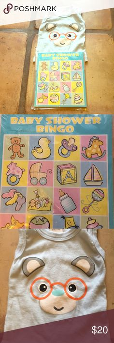 NWT 3-6mon bear tank f/m neutral & babyshower gift Gender adorable neutral blue tank style top for baby ages 3 to 6 months old. Front has Bear face with orange glasses. In bundle also comes unique bingo baby shower gift/game for eight players new in packaging. Juste Pour Toi Shirts & Tops