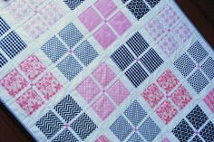 Pink and Black Girl Quilt with Ann Kelle Chevrons, $125.00