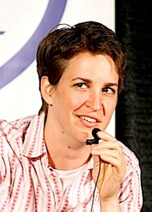 Rachel Maddow, TV host, political commentator, and the first openly gay anchor to host a prime-time news program in the United States.