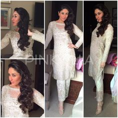 Kareena Kapoor was in Dubai recently to launch another store for Malabar Gold, a jewellery brand that she endorses. She wore an off white heavily emb. Eid Dresses, Indian Dresses, Bridal Dresses, Pakistani Outfits, Indian Outfits, Ethnic Fashion, Asian Fashion, Fashion Beauty, Faraz Manan