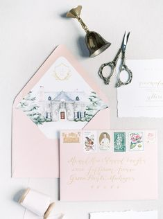 The Heirloom Experience - The luxurious side to wedding stationery where the design is fully custom and catered to your unique situation. Fully custom artwork prepared for your elegant wedding invitations. Watercolor venue illustrations on envelope liners Bespoke Wedding Invitations, Watercolor Wedding Invitations, Wedding Invitation Wording, Invitation Design, Wedding Stationery, Illustrated Wedding Invitations, Garden Wedding Inspiration, Invitation Paper, Wedding Vendors