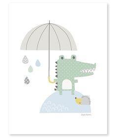 Lámina cocodrilo bajo la lluvia