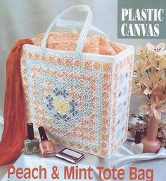 Peach & Mint Tote Bag Plastic Canvas Pattern Instructions