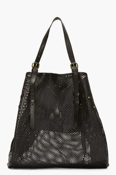 JEROME DREYFUSS Black Perforated Leather Pat Tote