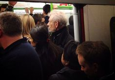 Sir Ian McKellen on the Tube in London.