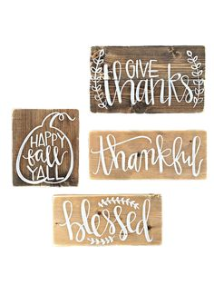 Apartminty Fresh Picks: Fall Favorites | Set of 4 Wooden Fall Signs | Love how simple and rustic these are, perfect way to add some seasonal flair without disrupting your apartment decor