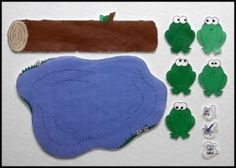 Five green and speckled frogs felt template