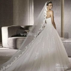 White Ivory Classical Elegant Chapel Wedding Bridal Veil Lace Edge Long Train