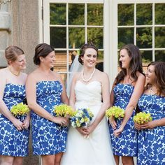 Blue and White Floral Bridesmaid Dresses