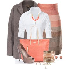 Peach&Brown Outfit, created by ccroquer on Polyvore