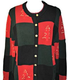 7401158cfe29a2 TABI Ugly Christmas Tree Knit Sweater Extra Large Womens Checkered Cardigan  EUC