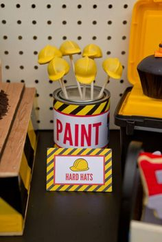 Cute HARD HAT CAKE POPS! Construction Birthday Party via Kara's Party Ideas | Kara'sPartyIdeas.com #construction #birthday #party #supplies #ideas