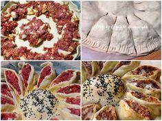 Girasole rustico farcito, torta salata con carne e formaggio, ricetta facile passo passo, piatto unico, idea per la cena, rustico per feste o buffet, veloce