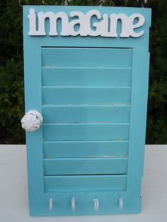 Shutter Jewelry Holder or Key Holder Shabby LIght Teal Imagine.  Earring holder