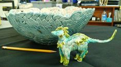 High School Art, Ceramics. Coil bowl. Clay dragon. Art Teacher Jennifer Lipsey Edwards