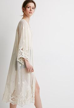 Crocheted Open-Front Maxi Cardigan | LOVE21 - 2000076581