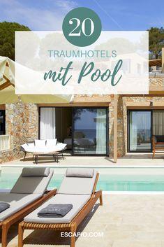 Entdecke die schönsten Hotels mit Pool - jetzt auf ESCAPIO! #pool #wellness #hotels #reisen #urlaub Bio Sauna, Paradise Pools, Bali, Beste Hotels, Cool Pools, Far Away, Tropical, Swimming, Places