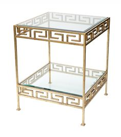Jacques Stacking Side Table from Collection Ten by @ebanistacollect. As Seen In Architectural Digest - May 2014 @archdigest. Antiqued gold finish with decorative Greek key motif.  Beveled clear glass top. Contemporary side table. Discover more at www.ebanista.com