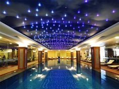 Stretch Ceiling Company in Dubai -Stretched Ceilings in UAE from Imperial Company Sky Ceiling, Ceiling Design, Barrisol Ceiling, Best Places To Honeymoon, Luxury Swimming Pools, Star Wars, Companies In Dubai, Star Sky, 4 Star Hotels