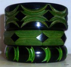 Set Of 3 1930s Bakelite Unusual Art Deco Carved Overdyed Bangle Bracelets Black