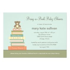 Bring A Book Baby Shower Invitation (Blue).  $1.95