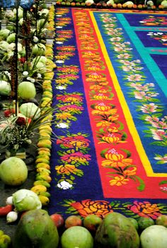 Wood shaving carpet, Antigua, Guatemala, Semana Santa