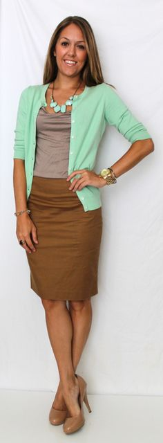 mint cardigan, tan/beige top, chocolate/taupe/caramel skirt
