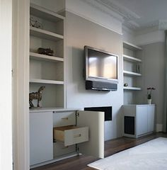 Alcove Ideas from Couture Furniture Alcove Tv Unit, Alcove Storage, Alcove Shelving, Alcove Cupboards, Built In Cupboards, Book Storage, Shelving Ideas, Tv Cabinets, Display Shelves
