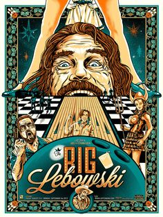 Movie Poster: The Big Lebowski (Metallic Teal & GID Ink Variant) by Gary Pullin