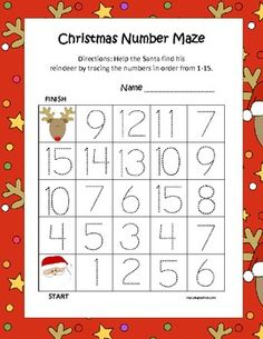 $ Christmas Leveled Tracing Number Mazes (3 Total) 1-10, 1-15, & 1-20 Students help Santa find his Reindeer by tracing the numbers in sequential order. ALSO...RATE any of my items after download and receive one FREE dollar item from my store!!!