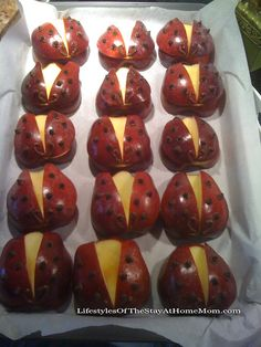 Ladybug apples! Great creative snacks for the kiddos!