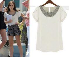 2014 Nova Verão Casual Mulheres Senhora Beading Blusas curto Puff luva Chiffon soltos camisas, branco, rosa, 7 Tamanho S-4XL 9.38