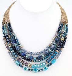 """Multiple strands of faceted glass beads on shiny gold chains creating a beautiful blue statement necklace. 18"""" long glass/shiny gold metal made in China Necklace Length Chart   Shop this product here: spree.to/ame8   Shop all of our products at http://spreesy.com/CustomGiftsBooth   Pinterest selling powered by Spreesy.com"""