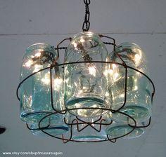 Mason jar chandelier - such an adorable decor for a rustic, farmhouse