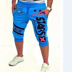 0716101f35 Hombre Activo   Básico Algodón Activo   Pantalones de Deporte   Shorts  Pantalones - Estampado   Letra Azul   Deportes   Fin de semana