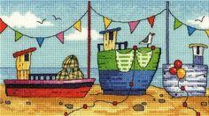 Boats Cross Stitch - Heritage Crafts Karen Carter Cross Stitch
