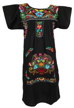 Mexican Dress Traditional Floral - Black