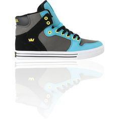 Supra Vaider Turquoise, Grey Black Shoe ($80) ❤ liked on Polyvore