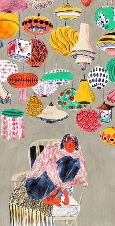 ~ Mouni-Feddag ~ Com composições cromáticas lindas (e surpreendentes), um traço cheio de personalidade e uma riqueza absurda de detalhes, a ilustradora inglesa Mouni Feddag transforma situações engraçadas do cotidiano numa verdadeira festa. Olha que lindo!