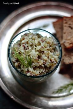 Herring tartare / Tatar siekany ze śledzia Appetizer Salads, Appetizers, European Dishes, Fish And Seafood, Poland, Risotto, Snacks, Eat, Cooking