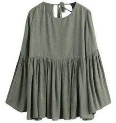 Casual Scoop Neck Hollow Out Long Sleeves Blouse For Women
