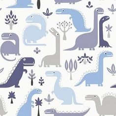 Dino Blue (LL-10-02-1) - Galerie Wallpapers - An all over wallpaper design featuring various stylised dinosaurs. Shown here in shades of blue on white. Other colourways are available. Please request a sample for a true colour match. Paste-the-wall product.