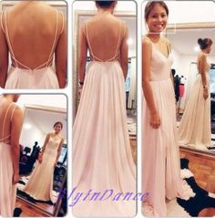 Backless Prom Dresses,Open Back Prom Dress,Cap Sleeves Prom Gown,Blush Pink Prom Gowns,Elegant Evening Dress