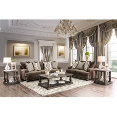 Living Room Layout 2 Sofas - Furniture of America Mitchell Brown Chenille Nailhead Sofa and Love Seat Set. Nailhead Sofa, Living Room Color Schemes, Elegant Living Room Decor, Brown Living Room, Living Room Sets, Living Room Collections, Luxury Living, Elegant Living Room, House Interior