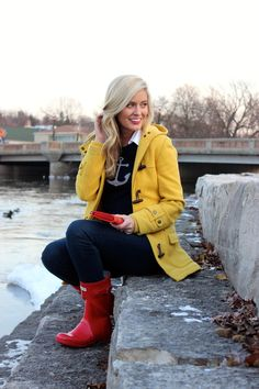 bright coat and boots, winter fashion 2013
